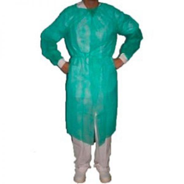 Bata protección puño tricotado esteril verde